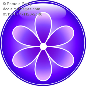 Clip Art Image of a Glossy Round Flower Button.