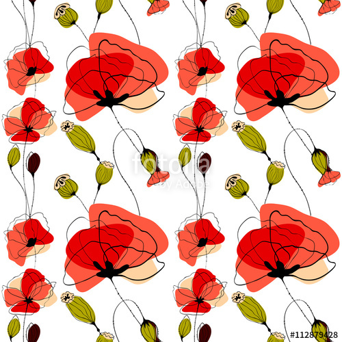 "Poppy flowers and capsules seamless pattern"" Stock image and."