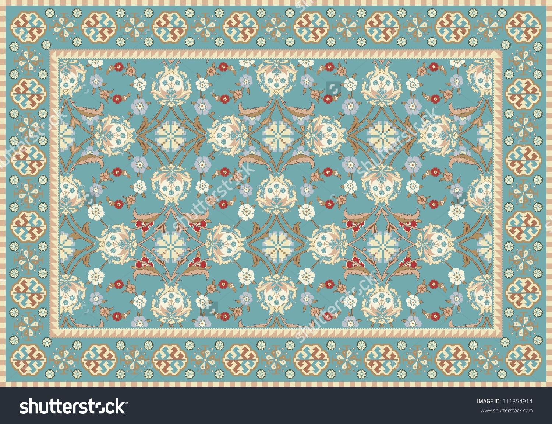 Blue Oriental Floral Carpet Design Stock Vector 111354914.