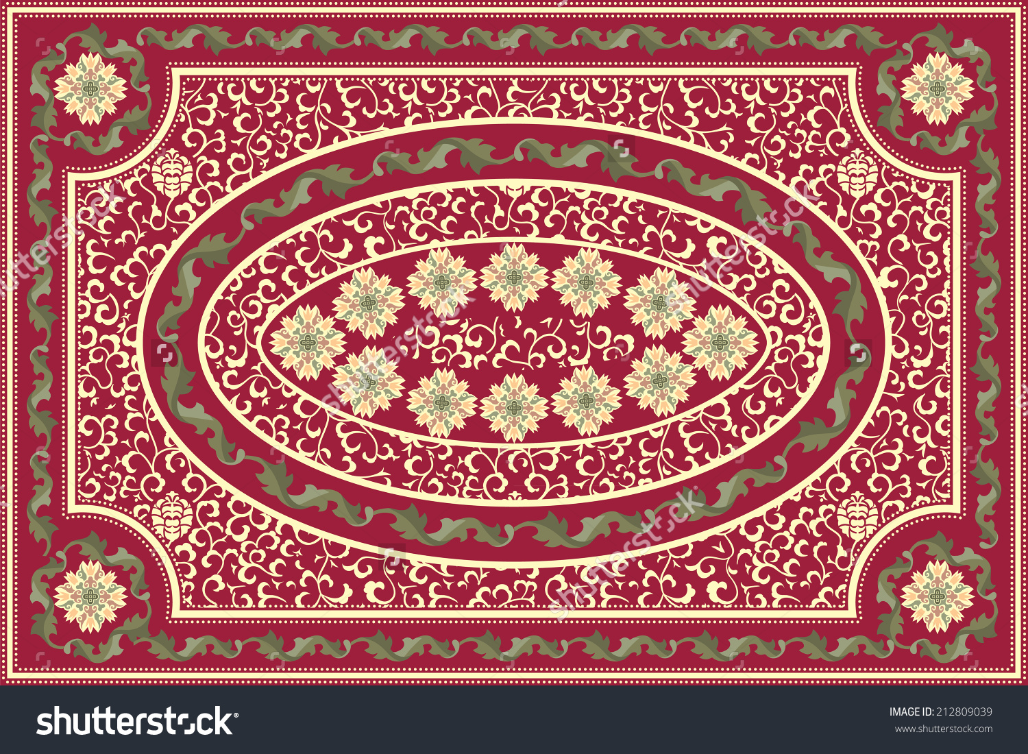 Elaborate Red Floral Carpet Design Stock Vector 212809039.