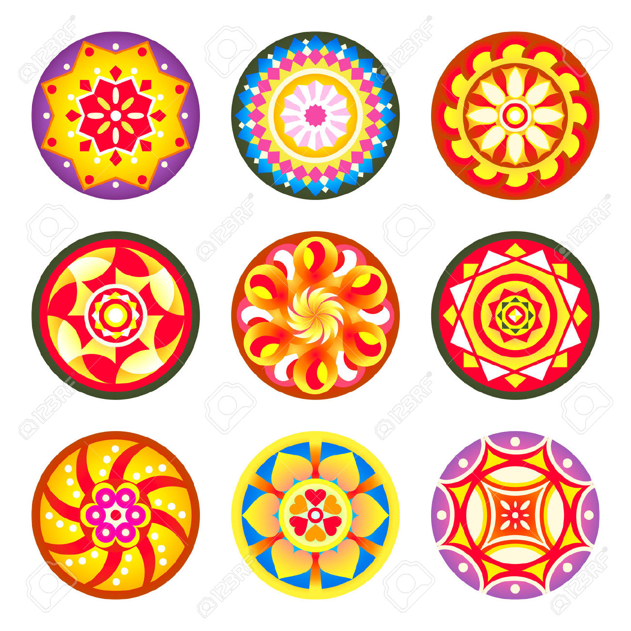 Indian Flower Carpet Patterns (pookalams) For Onam Festival.