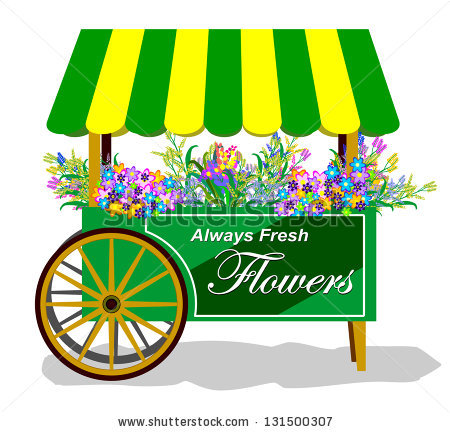 Flower Cart Stock Photos, Royalty.