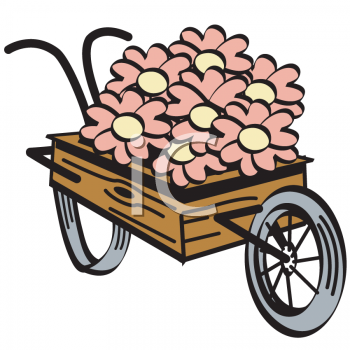 Vintage Flowers in a Wooden Cart.