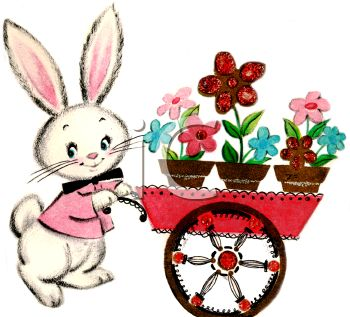 Vintage Easter Bunny Pushing a Flower Cart.