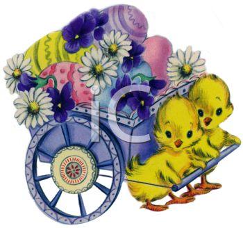 Vintage Easter Chicks Pulling a Flower Cart.