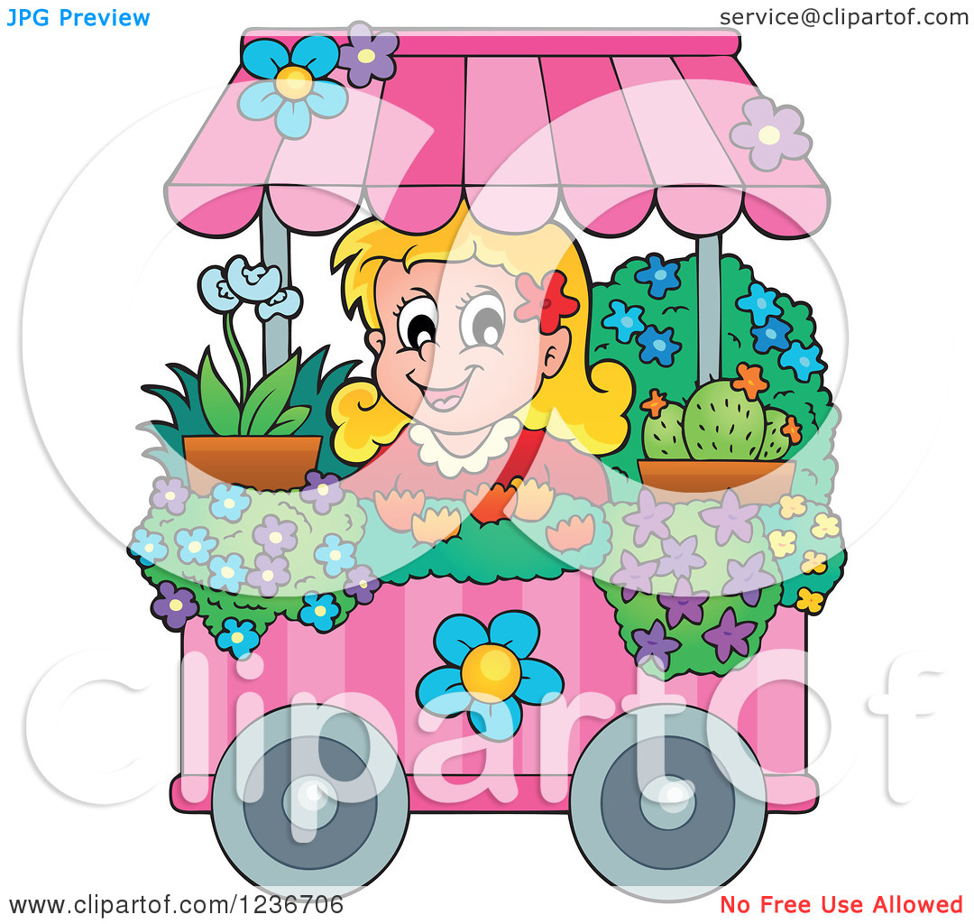 Clipart of a Happy Blond Girl Working at a Flower Shop Florist.