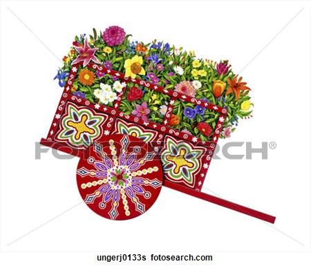 Flower Cart Clipart.
