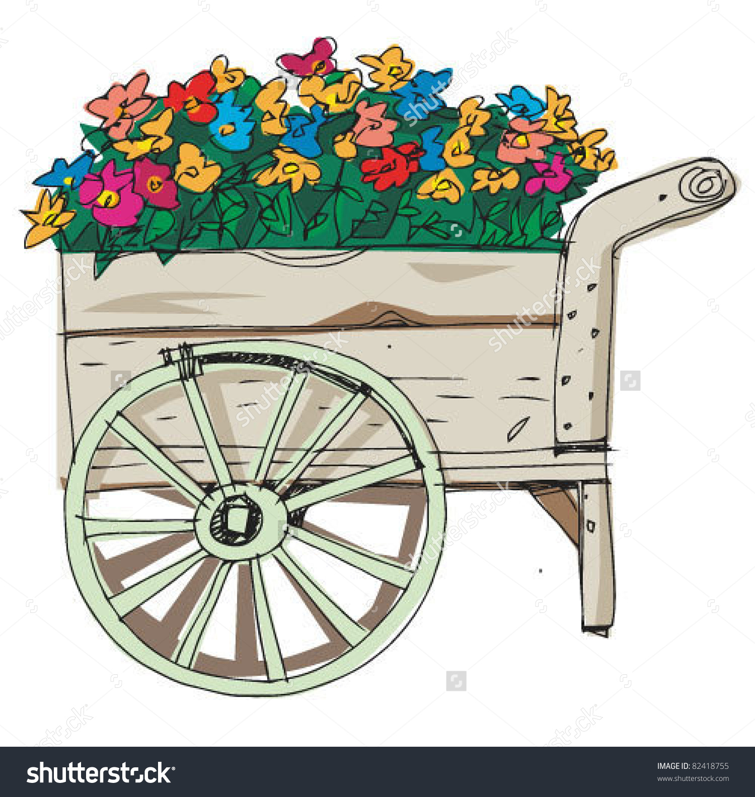 Flower Cart Stock Vector 82418755.