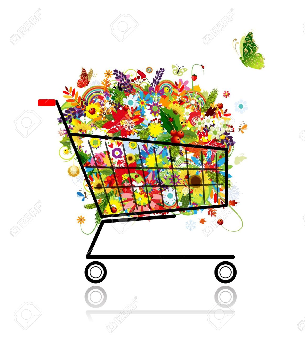 Floral Bouquet In Shopping Cart For Your Design Royalty Free.