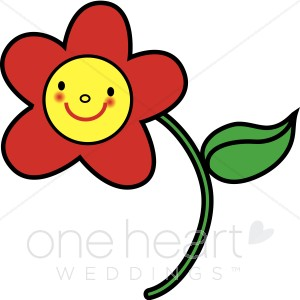 Smiling Red Flower Cartoon Clipart.