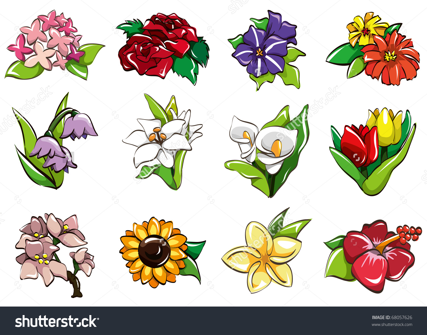 Cartoon Flower Icon Stock Vector 68057626.