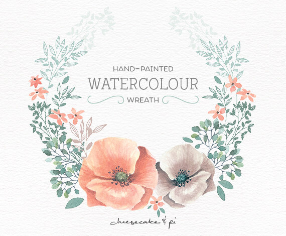 White flower green center watercolor clipart png.