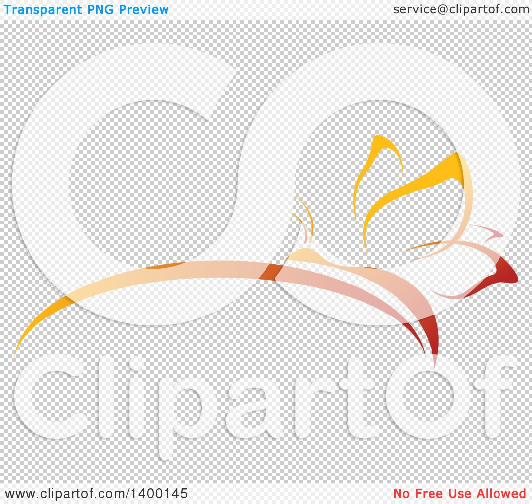 Clipart of a Gradient Orange Butterfly and Flower Center Arch.