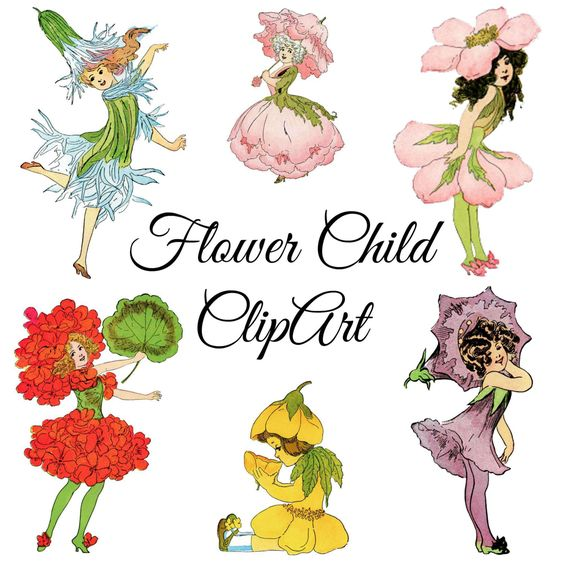 Vintage Flower Child ClipArt, Vintage Illustrations PNG Clip Art.