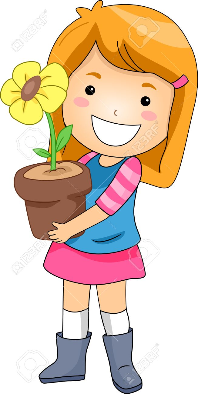 Illustration Of A Kid Holding A Flower Pot Stock Photo, Picture.