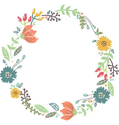 Floral Frame. Cute Retro Flowers Arranged Un A Shape Of The Wreath.