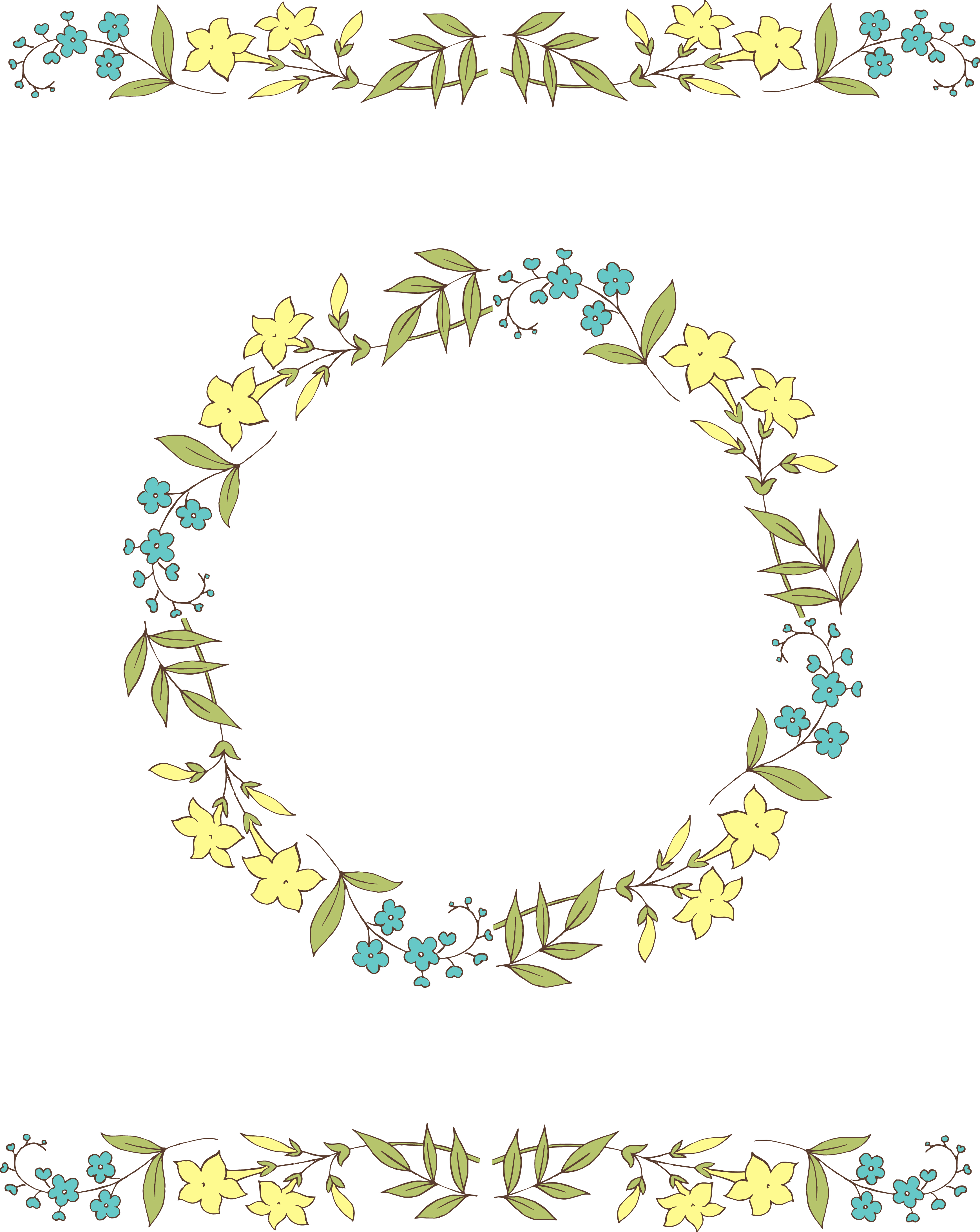 Circle Vector Flowers Clipart.