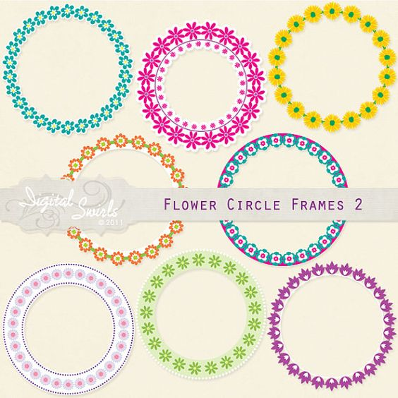 Flower Circle Frames Set 2.