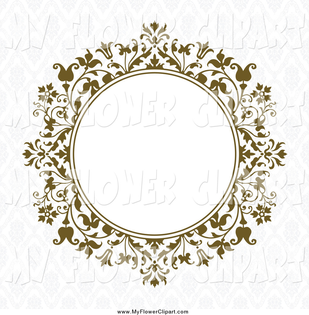 Clip Art of a Brown Vintage Floral Circle with White Space on a.