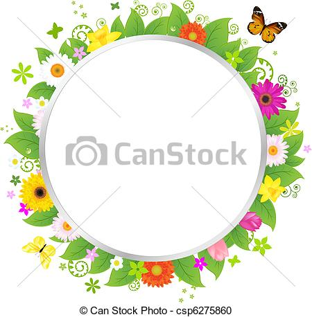 Vector Clipart of Circle With Flowers csp6275860.