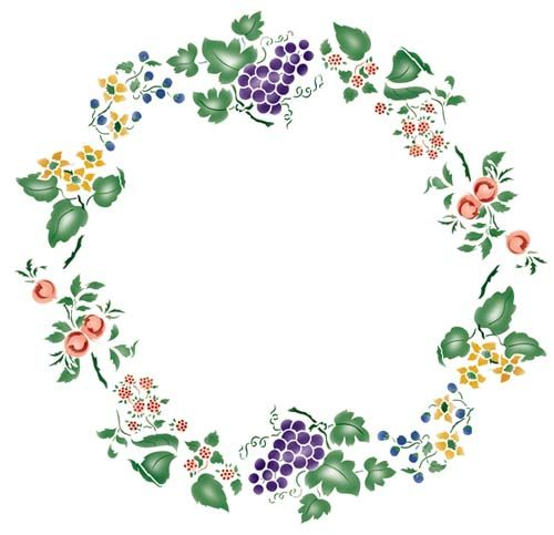 Fruit and Flower Circle Wall Stencil.