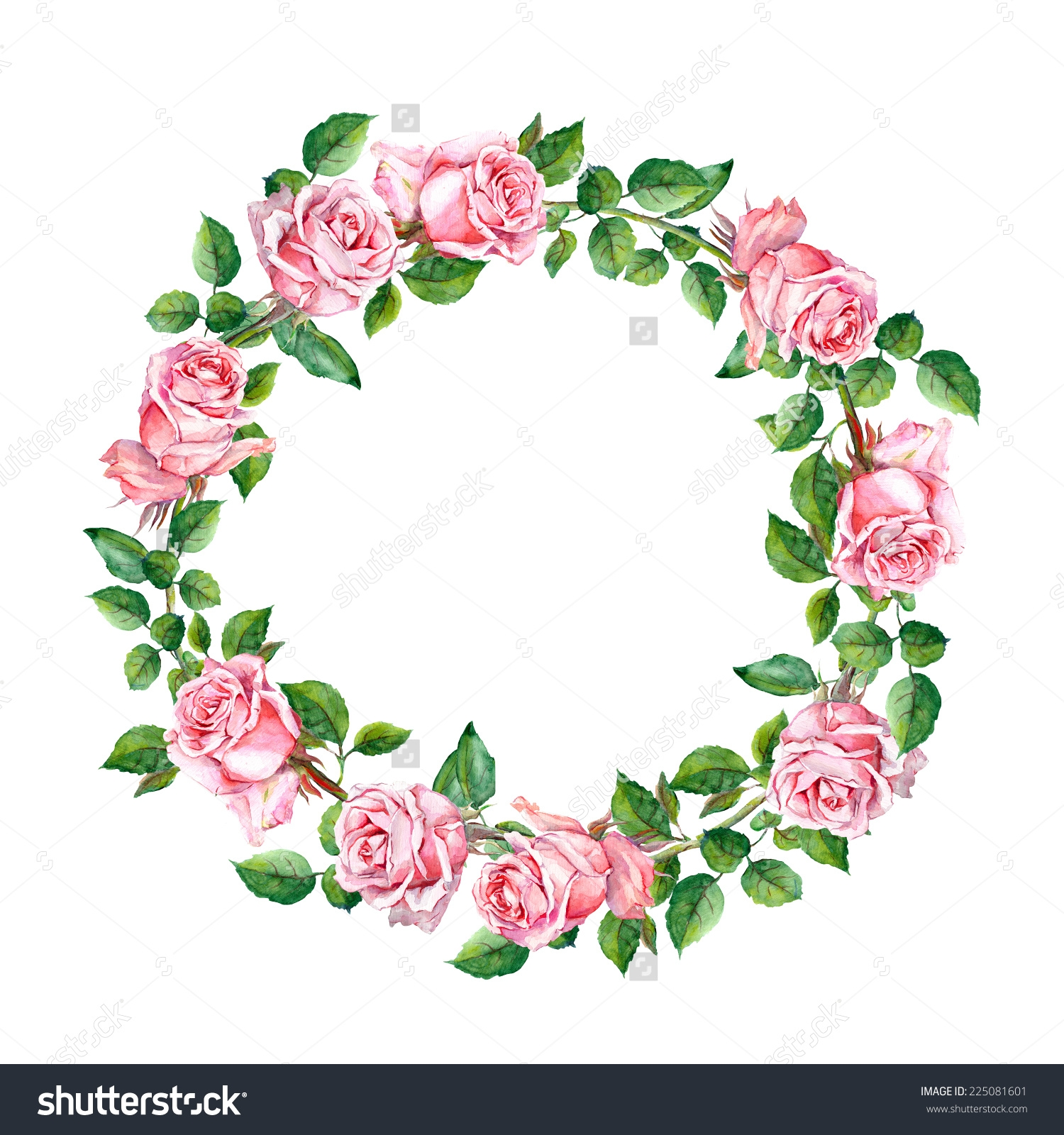 Circle of flowers clip art.