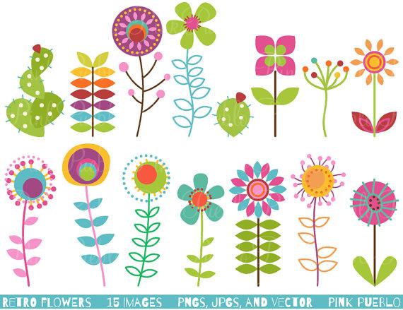 Retro Flower Clipart Clip Art, Vintage Flower Clip Art Clipart.