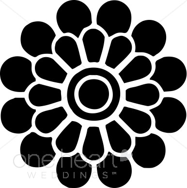 Black and White Modern Flower Clipart.