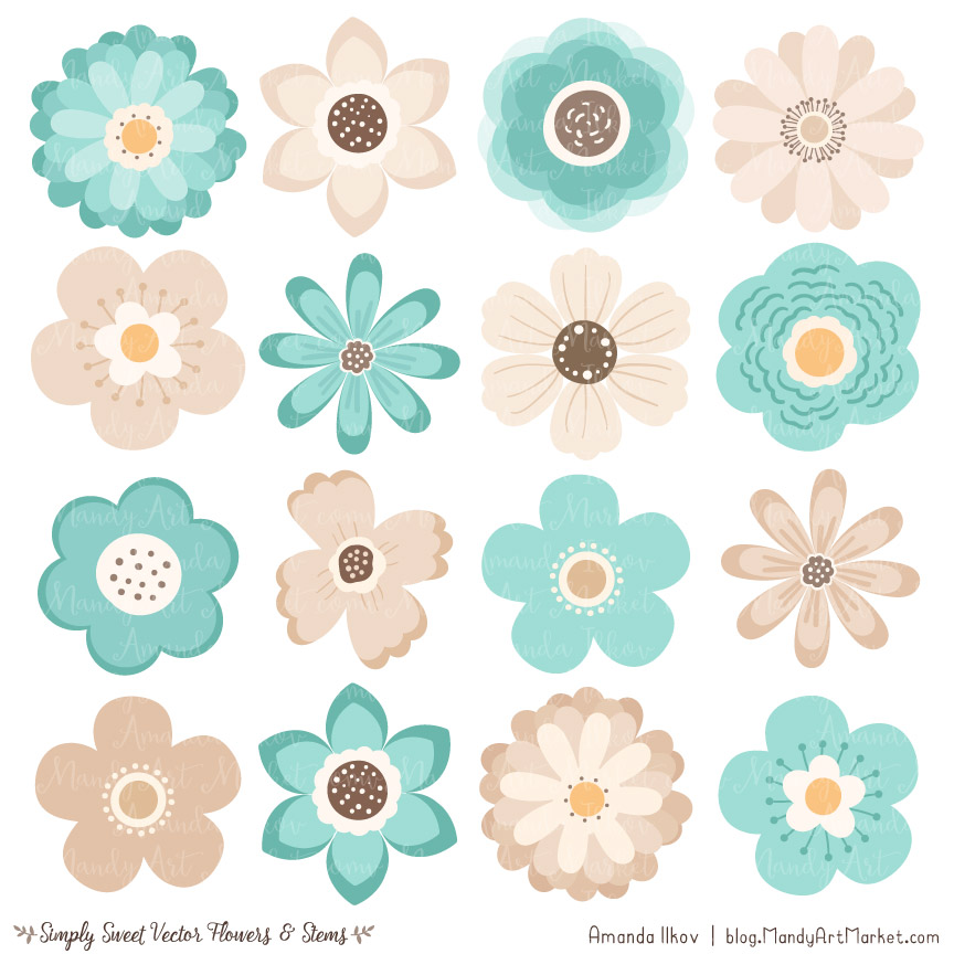 Aqua Flower Clipart & Vectors.