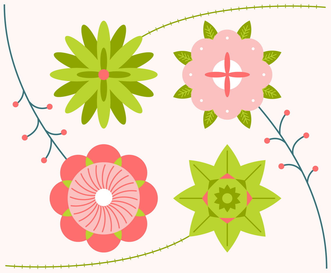 Funky Flower Clipart Set Vector ai, eps, svg file.