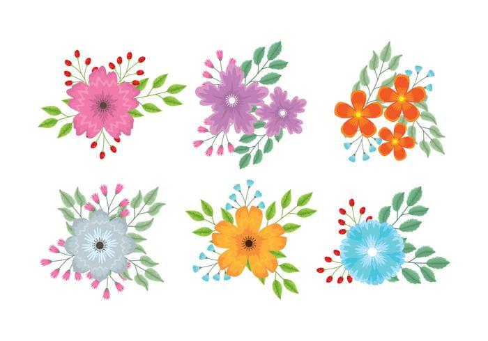 Flower clipart set eps, svg file.
