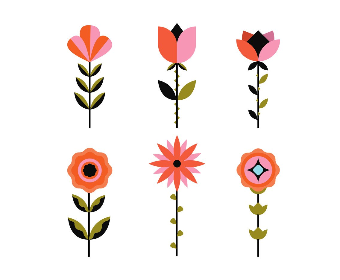 Geometric Flowers Clipart Vector Vector Art & Graphics.