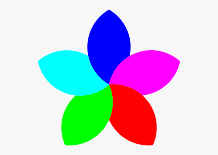 5 Petal Flower Clipart.