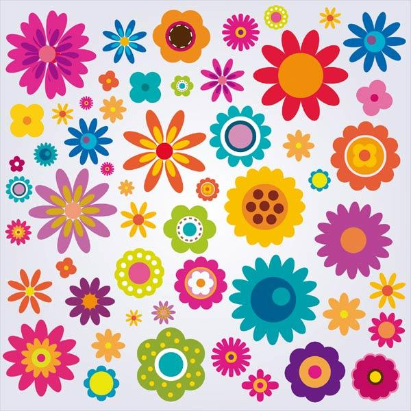 Colorful Flowers Clip Art Pack.