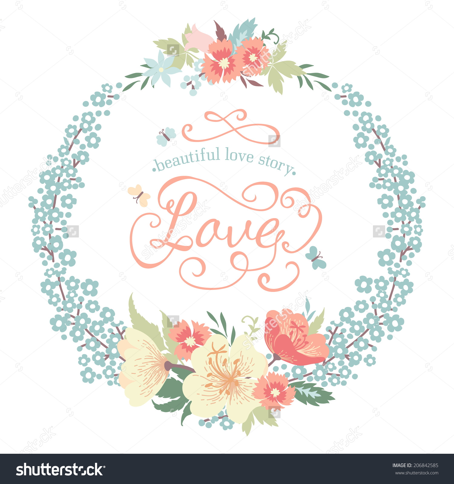 Wedding Round Floral Frame Flowers Pastel Stock Vector 206842585.