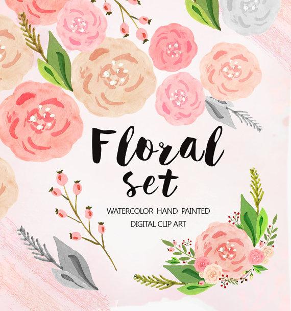 Watercolor Flower Clipart, Wedding floral Clip art, pastel flowers.