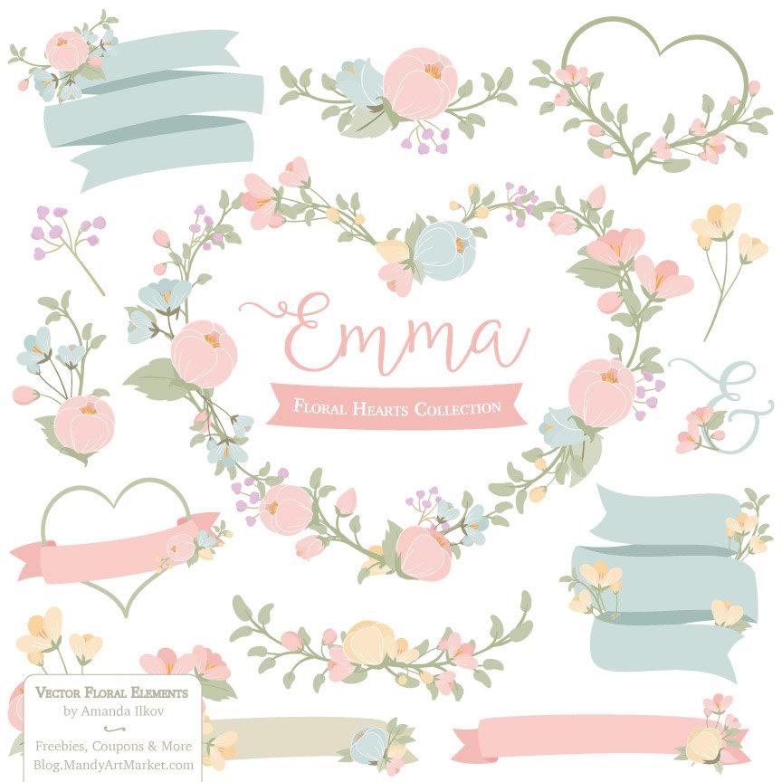 Emma Floral Heart Clipart & Vectors in Grandmas Garden.