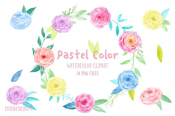Watercolor Clip Art Pastel Color ~ Illustrations on Creative Market.