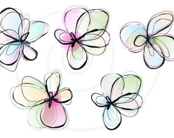 Abstract spring flowers, digital clip art, floral clipart, ink.
