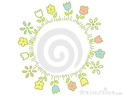 Ring Of Spring Flowers In Pastel Colors Royalty Free Stock Images.