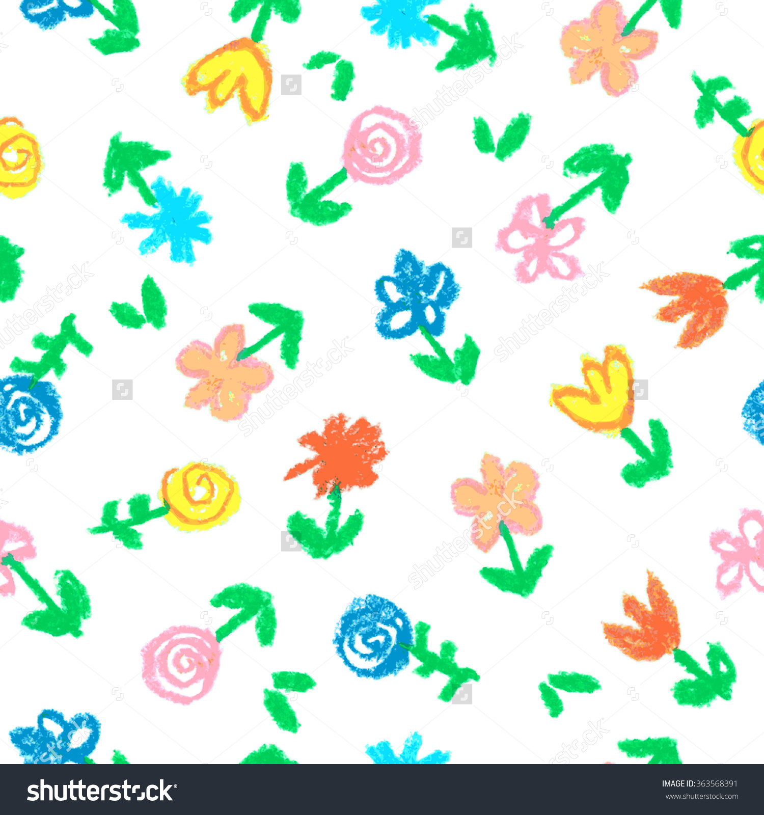 Crayon Childs Drawing Flowers On White Stock Illustration.