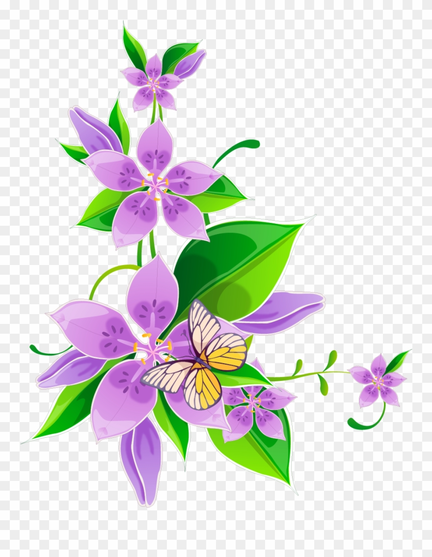 Svg Library Library Flower Purple Corner Flowers Transprent.