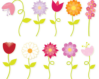Colorful Spring CLIPART, flowers, butterflies, hot air balloon.