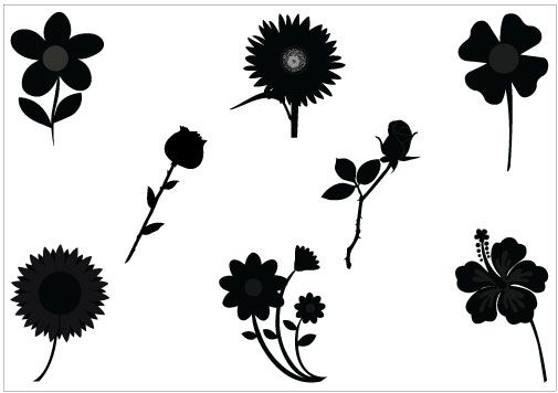 Flowers Vector Silhouette Graphics.