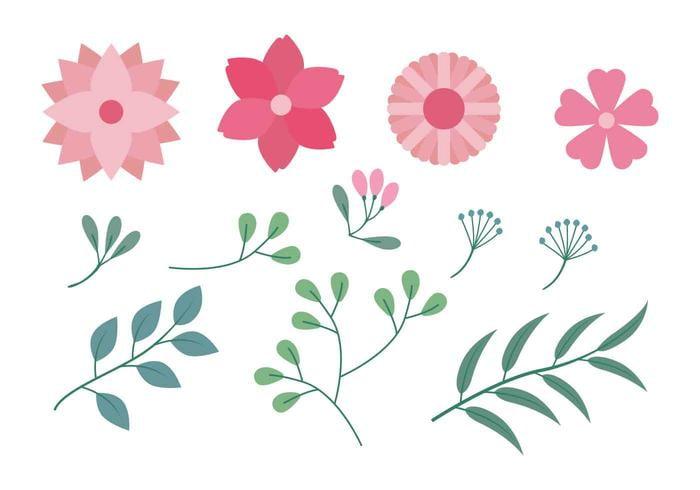 Flower Clipart Set Vector Illustration svg, eps file.
