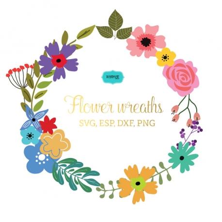 Flower wreaths svg, Monogram Frames SVG file..