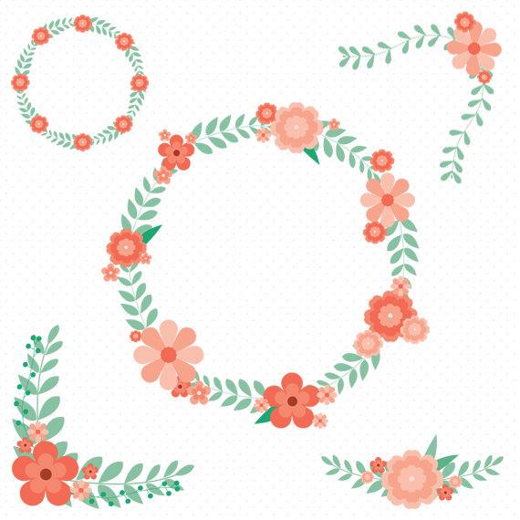 5 Floral Clip Art, Flower Wreath Clip Art, Floral Wedding Clipart.