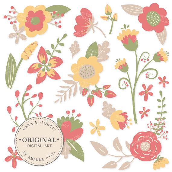 Premium Vintage Flowers Clipart & Floral Vectors Vintage.