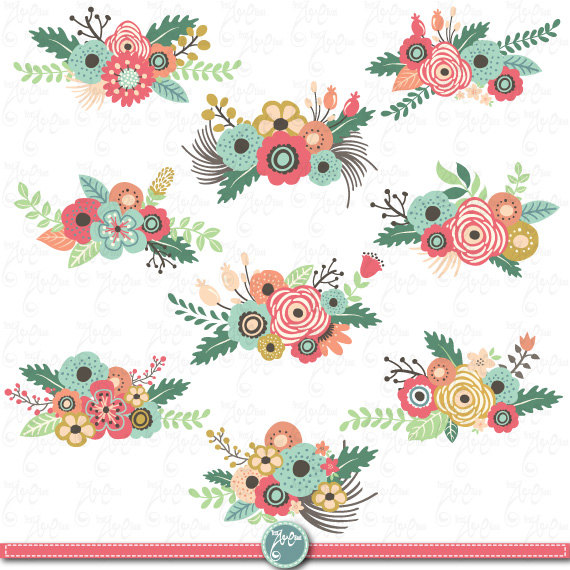 Flowers Clipart pack FLOWER CLIP ART pack Vintage.