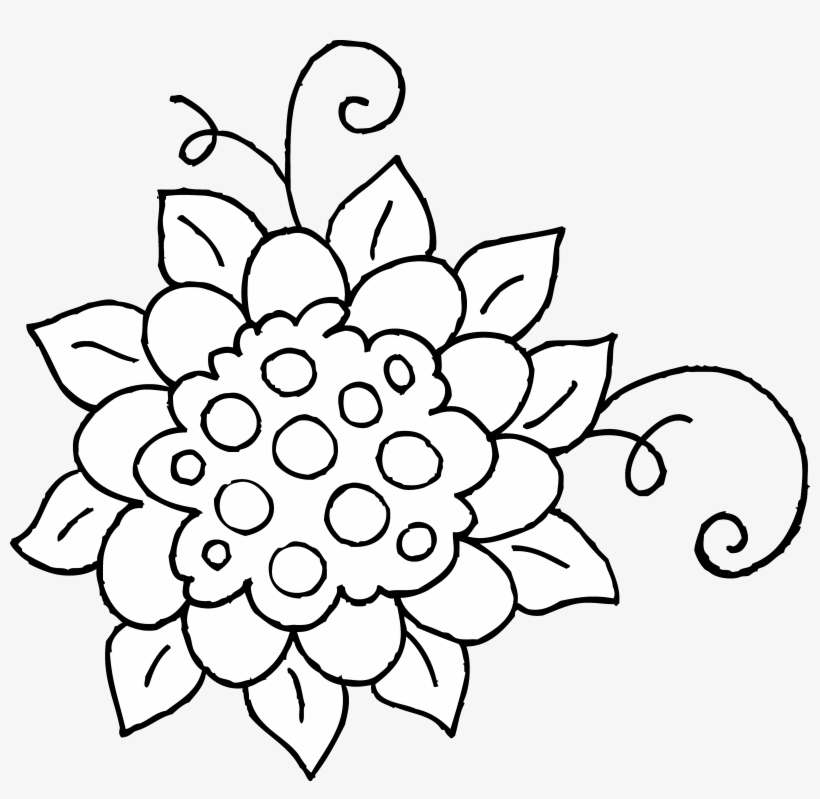 Cute Flower Coloring Page Free Clip Art.